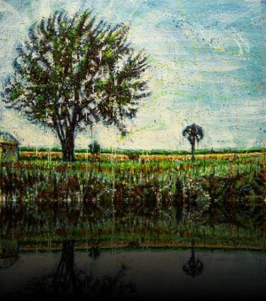 Arbres et grange <span class='vendu'>(Vendu/Sold)</span><br>Encaustic on panel -  36x48++