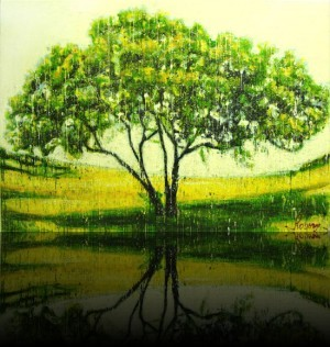Arbre jaune <span class='vendu'>(Vendu/Sold)</span><br>Encaustic on panel -  48x68++