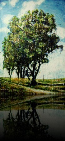 Le colosse<br>Encaustic on panel -  84x48++Available at Gallery 2000