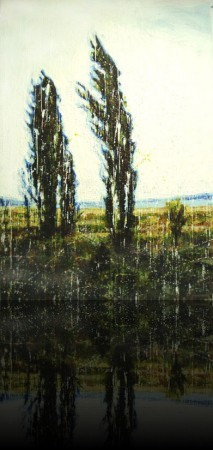 Cyprès <span class='vendu'>(Vendu/Sold)</span><br>Encaustic on panel -  60x40++