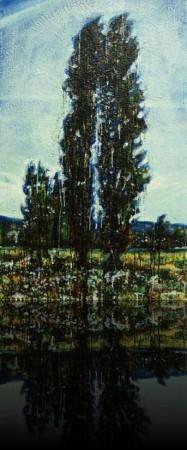 Twin cypress<br>Encaustic on panel -  48x24++