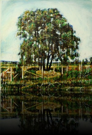 Arbre et clôture<br>Encaustic on panel -  48x48++Available at Marie Vincent Fine Arts Gallery