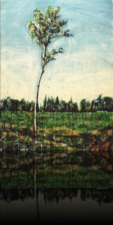 Le frêle<br>Encaustic on panel -  48x36++Available at Latitude Gallery