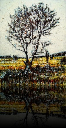 Arbre d'automne<br>Encaustic on panel -  48x36++Available at Latitude Gallery