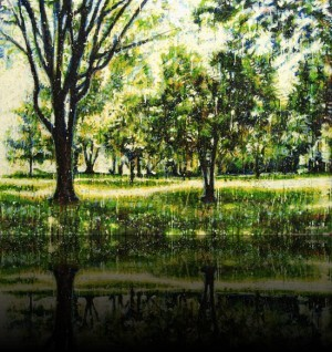 Forêt verte 2<br>Encaustic on panel -  32x44++Available at Galerie 2000