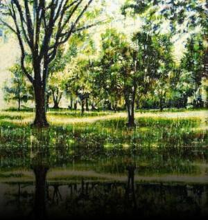 Forêt verte 2<br>Encaustic on panel -  32x44++Available at Galerie 2000