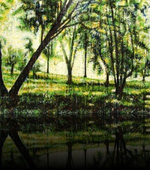 Forêt verte 3<br>Encaustic on panel -  36x48++Available at Latitude Gallery