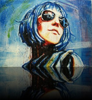 Space Girl <span class='vendu'>(Vendu/Sold)</span><br>Encaustic on panel - 24x36++