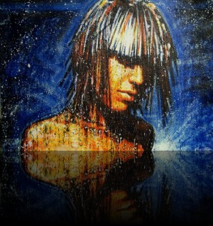 Cosmic Girl 2 <span class='vendu'>(Vendu/Sold)</span><br>Encaustic on panel - 48x68++