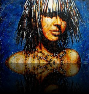 Cosmic Girl <span class='vendu'>(Vendu/Sold)</span><br>Encaustic on panel - 48x68++