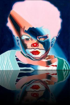 Clown Face++Huile sur bois 48'' x 48''