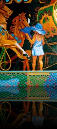 Fillette et carrousel++Huile sur toile 48'' x 72''