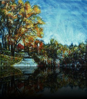 Parc rivière St-Charles 2<br>Encaustic on panel -  36x48++Available at Latitude Gallery