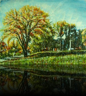 Parc rivière St-Charles<br>Encaustic on panel -  36x48++Available at <a href='http://www.latitudeartgallery.com/Sylvain_Roberge.php'>Latitude Gallery</a>