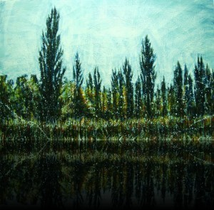 Champ de cyprès<br>Encaustic on panel -  40x60++