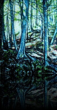 Forêt verticale<br>Encaustic on panel -  48x36++Available at Latitude Gallery