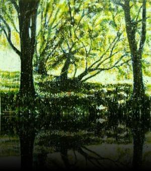 Forêt verte<br>Encaustic on panel -  36x48++Available at Marie Vincent fine art gallery