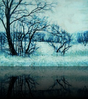 Hiver<br>Encaustic on panel -  36x48++Available at Latitude Gallery