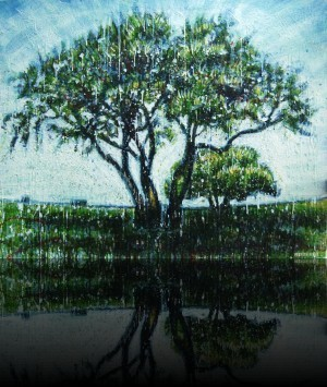 Love tree<br>Encaustic on panel -  32x40++