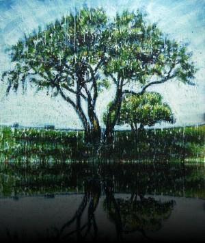 Love tree<br>Encaustic on panel -  32x40++