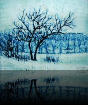 Petit hiver<br>Encaustic on panel -  20x24++