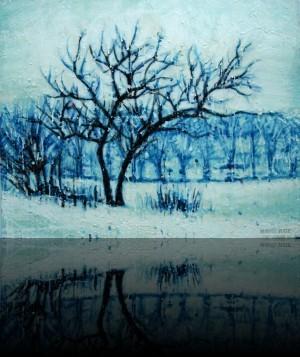 Petit hiver<br>Encaustic on panel -  20x24++