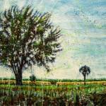 Arbres et grange (Vendu/Sold)Encaustic on panel -  36x48