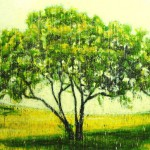 Arbre jaune (Vendu/Sold)Encaustic on panel -  48x68
