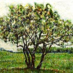 Arbuste vertEncaustic on panel -  48x68