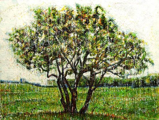 Arbuste vert<br>Encaustic on panel -  48x68