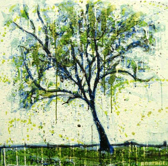 Petit arbre verte <span class='vendu'>(Vendu/Sold)</span><br>Encaustic on panel -  36x36