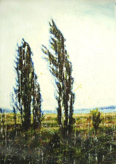 Cyprès <span class='vendu'>(Vendu/Sold)</span><br>Encaustic on panel -  60x40