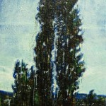 Twin cypressEncaustic on panel -  48x24