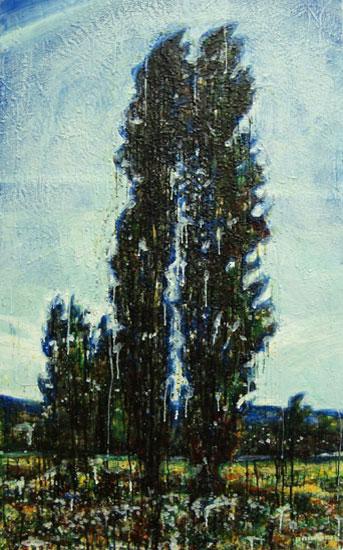 Twin cypress<br>Encaustic on panel -  48x24