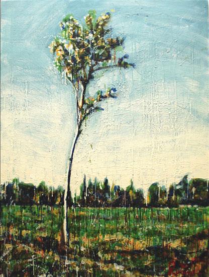 Le frêle<br>Encaustic on panel -  48x36