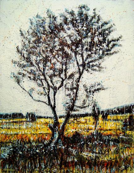 Arbre d'automne<br>Encaustic on panel -  48x36