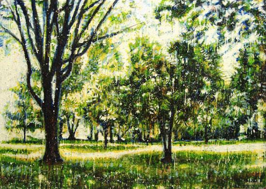 Forêt verte 2<br>Encaustic on panel -  32x44