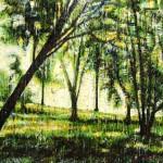 Forêt verte 3Encaustic on panel -  36x48