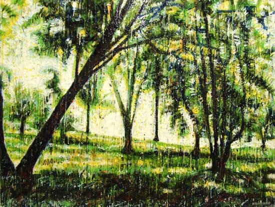 Forêt verte 3<br>Encaustic on panel -  36x48