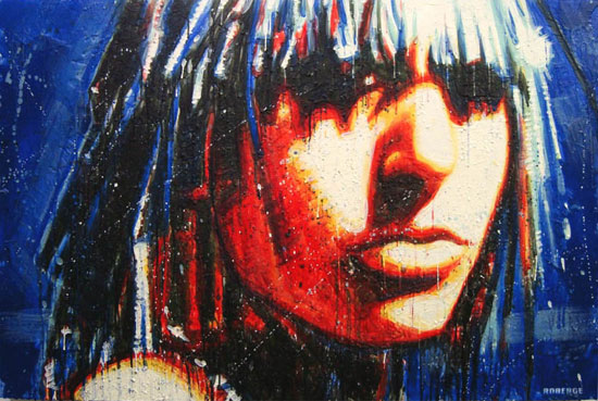 Cosmic Girl 3 <span class='vendu'>(Vendu/Sold)</span><br>Encaustic on panel - 40x60