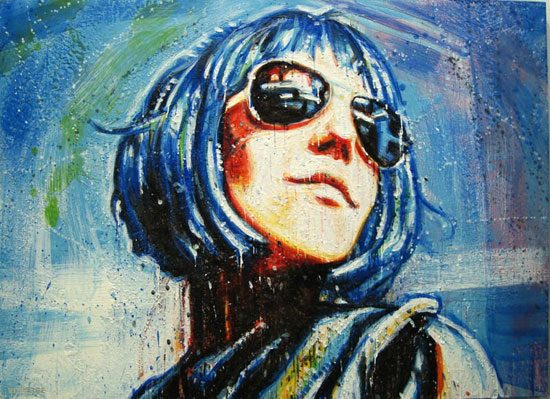 Space Girl <span class='vendu'>(Vendu/Sold)</span><br>Encaustic on panel - 24x36