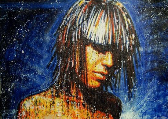 Cosmic Girl 2 <span class='vendu'>(Vendu/Sold)</span><br>Encaustic on panel - 48x68