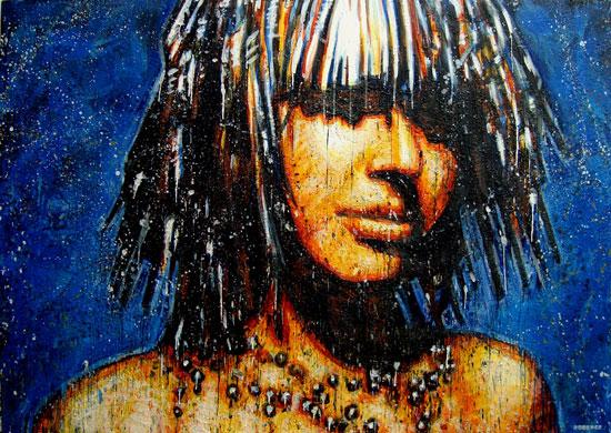 Cosmic Girl <span class='vendu'>(Vendu/Sold)</span><br>Encaustic on panel - 48x68