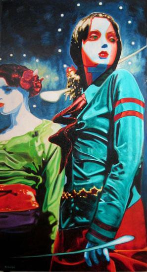 Laetitia <span class='vendu'>(Vendu/Sold)</span><br>Oil on canvas - 96x48