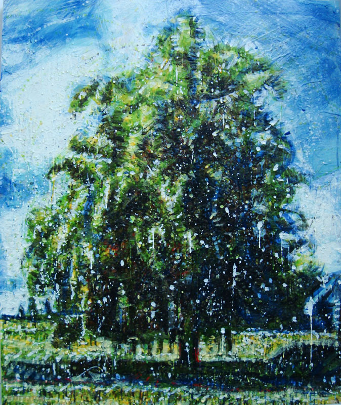 Chêne<br>Encaustic on panel -  30x24