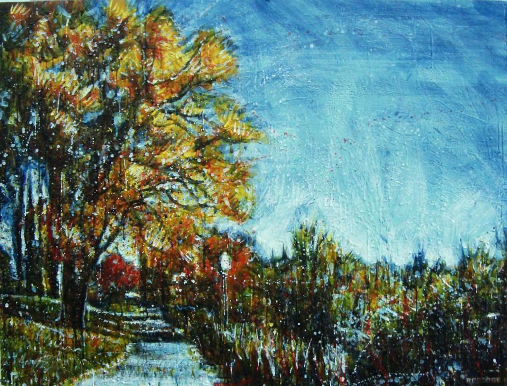 Parc rivière St-Charles 2<br>Encaustic on panel -  36x48