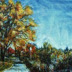 Parc rivière St-Charles 2Encaustic on panel -  36x48