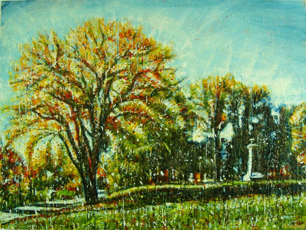 Parc rivière St-Charles<br>Encaustic on panel -  36x48