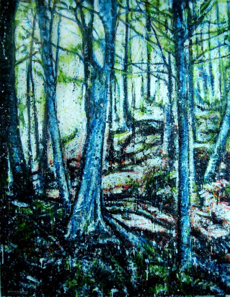 Forêt verticale<br>Encaustic on panel -  48x36