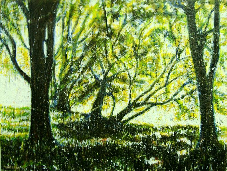 Forêt verte<br>Encaustic on panel -  36x48